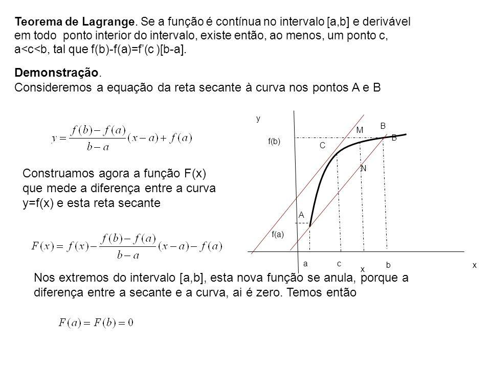Teorema de Lagrange. Se a função é contínua no intervalo [a,b] e derivável em todo ponto interior do intervalo, existe então, ao menos, um ponto c, a<c<b, tal que f(b)-f(a)=f'(c )[b-a].